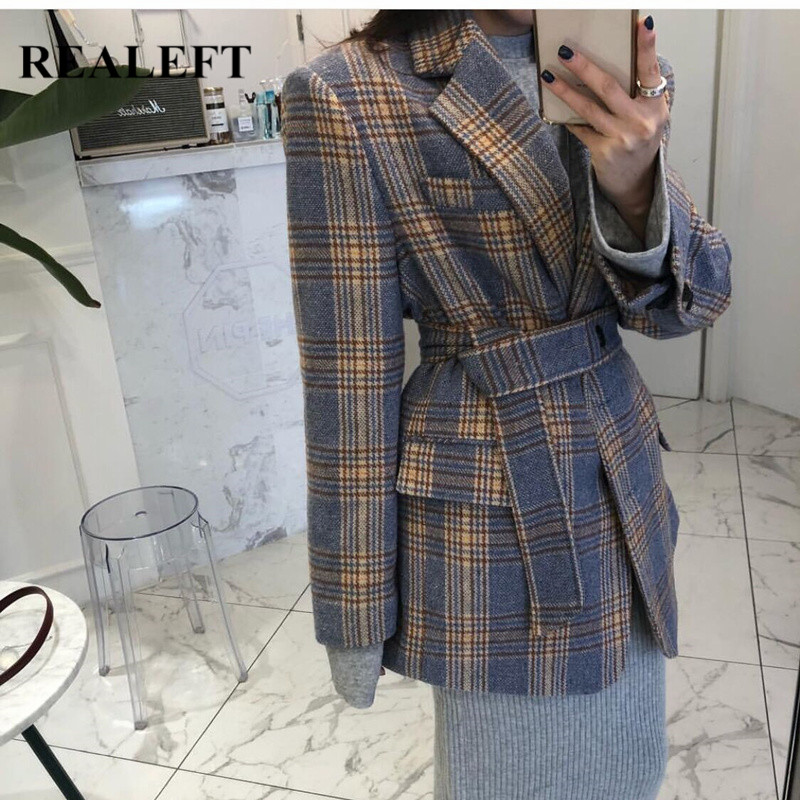 REALEFT Autumn Winter 2019 New Vintage Plaid Woolen Long Sleeve Women Blazer Jacket With Belt Women Jackets Coats Feminino