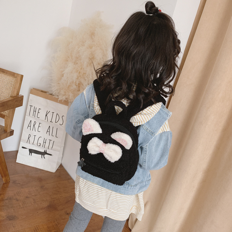 Autumn And Winter Bag Women's 2019 New Style Furry Backpack Korean-style Kindergarten CHILDREN'S Rucksack Bow Cartoon Bag