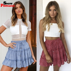 Image 3 - women skirts 2019 floral printed A line mini skirts Cotton Ruffles pleated girls skirts beach holidays casual skirts S XXL