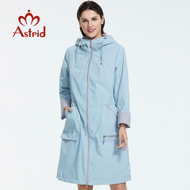Astrid gabardina larga con capucha para mujer, chaqueta de color sólido, ligera, informal, cortavientos, Colección AS 2019, 1992
