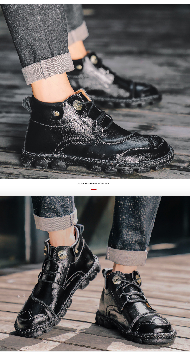 Men's Boots New High Quality Leather Male Ankle Boots 2020 Male Breathable Boots Autumn Outdoor Non-slip Man Motorcycle Boots