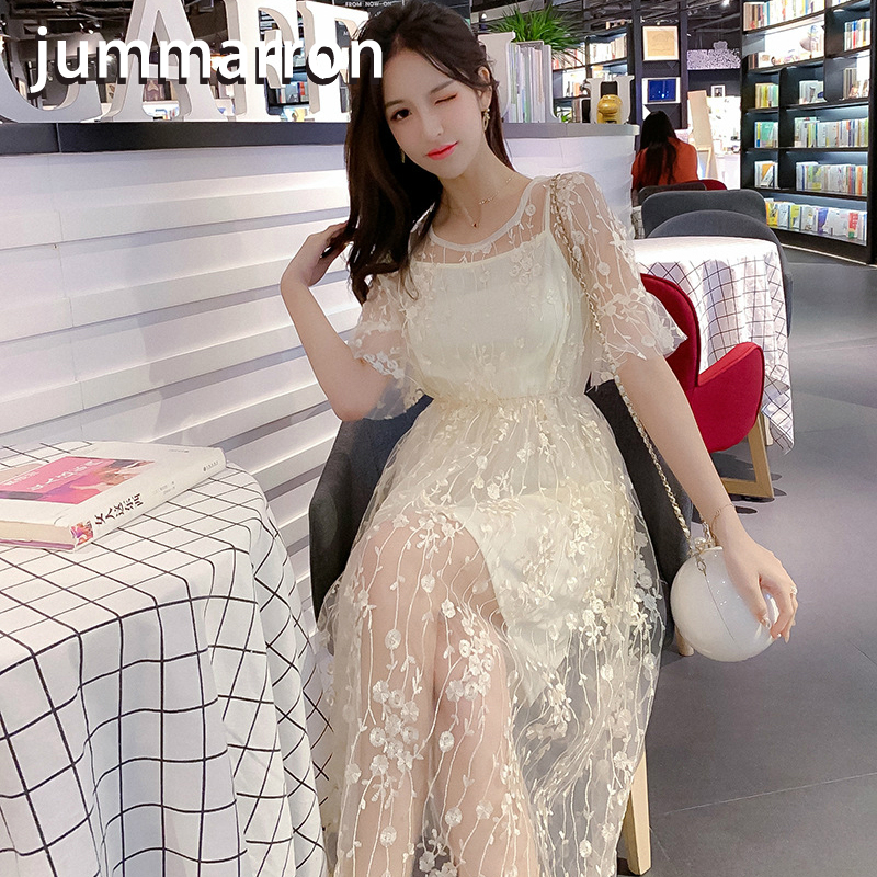 Jummarron 2020 New Summer Women's Dresses Sweet O-neck Medium Long Mesh Trumpet Short Sleeve Dress Office Lady The Wizard Of Oz