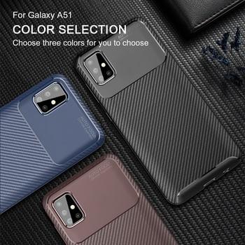 Funda suave de fibra de carbono TPU para Samsung S20 Plus para Samsung Galaxy A51 A71 A91 A50 S10 S20 Ultra Note 10 20 Pro Plus