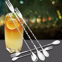 Спиральная форма коктейль Бар Прочный перемешивание стержень бар приборы двойная головка 1 шт. нержавеющая сталь посуда Коктейльная ложка