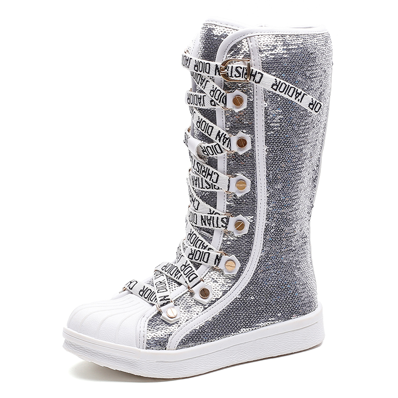 Girls Boots Shoes Sequins Rubber-Bottom Winter Kids Child Fashion Bota Breathable