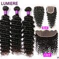 Tiefe Welle Bundles Mit Frontal-brasilianischen Haar Bundles Menschenhaar-verlängerung 3/4 Menschliches Haar Bundles Mit Verschluss Lumiere Haar Remy