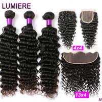 ONDA profunda mechones con pelo brasileño Frontal mechones de cabello humano extensión 3/4 extensiones de cabello humano mechones con cierre Lumiere pelo Remy