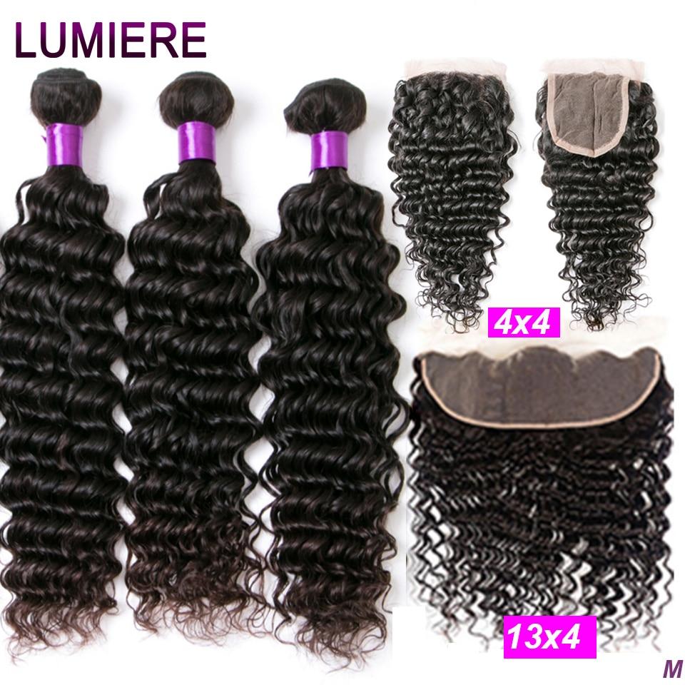 Onda profunda pacotes com frontal feixes de cabelo brasileiro extensão do cabelo humano 3/4 pacotes de cabelo humano com fechamento lumiere cabelo remy