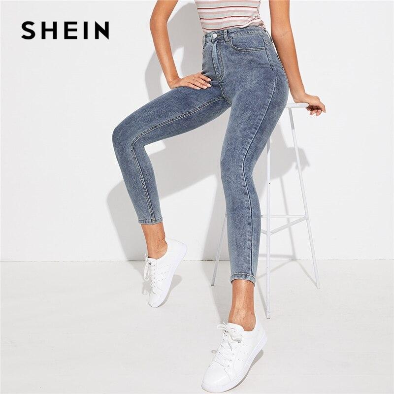 SHEIN Grey Zipper Fly Bleach Wash Skinny Casual   Jeans   Women Bottoms 2019 Autumn Streetwear Mid Waist Buttoned Denim Trousers