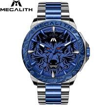 Relogio Masculino 2019 MEGALITH luruxy quartz watch men full steel strap embossed wolf head clock men waterproof luminous watch