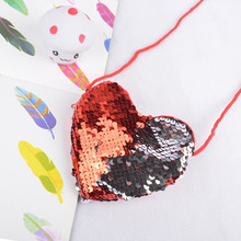 Ms. Mermaid Loving Heart Sequined Wallet Cute Boys Coin Purse Sling Bag Card Bag Wallet Zero Children's Gift Bag 821(China)