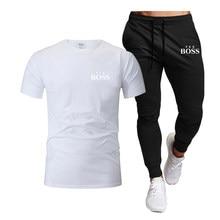 Summer Men's T-shirt Set 2-piece Men's Sportswear Set Sports Fitness Summer Print Short Sleeve + Shorts Men's Comfortable match