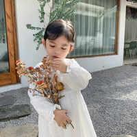 Vestido de princesa de encaje de algodón para niña, vestido bordado blanco para fiesta, vestidos de manga larga para niña de 1 a 5 años