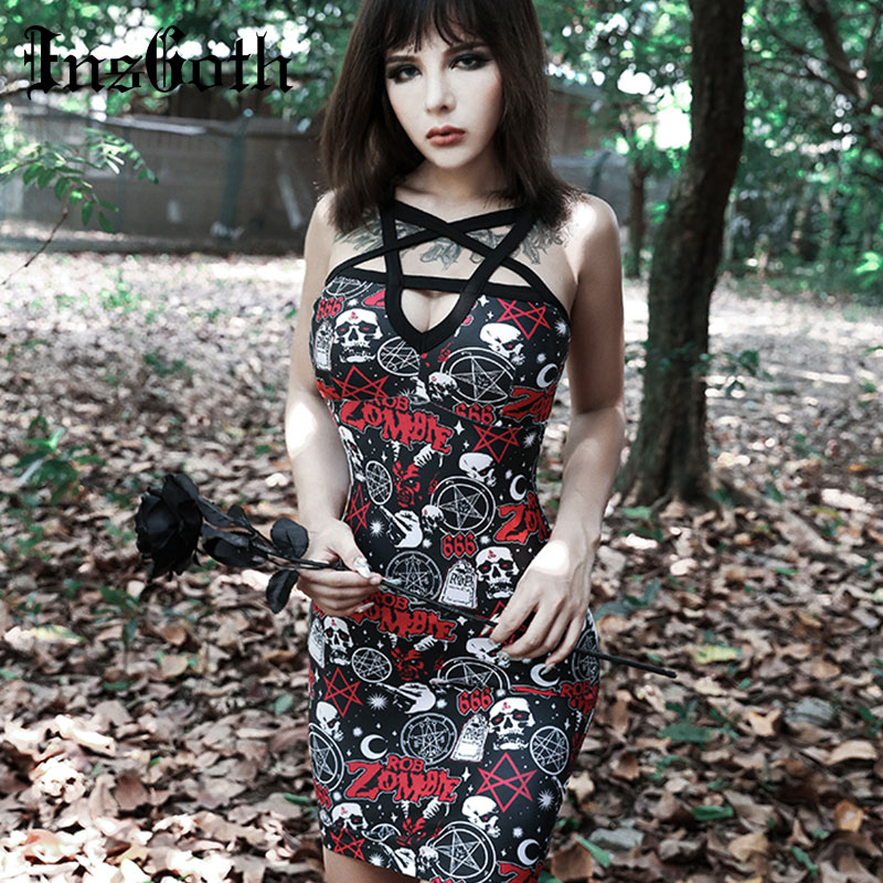 InsGoth Pentagram Hollow Out Sexy Gothic Dress Halloween Skull Rose Printed Bodycon Mini Party Lady Dress Harajuku Streetwear