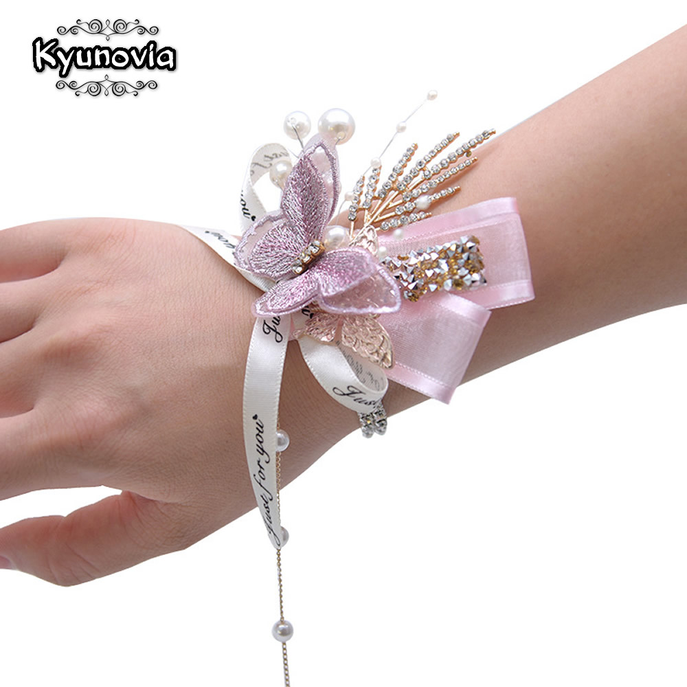 Kyunovia Beautiful Embroidery Butterfly Rhinestone Pearl Bracelet Prom Pary Girls Bridesmaid  Wedding Wrist Corsage Flowers BY45