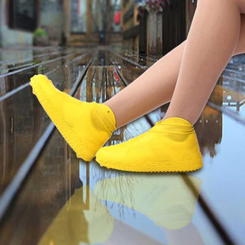 JHD silikon açık kaymaz su geçirmez ayakkabı kapakları taşınabilir yağmur çizmeleri yağmur geçirmez ayakkabı koruyucu erkekler kadınlar gençler anti-kum ayakkabı Co