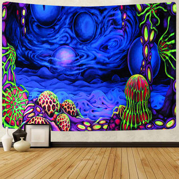 Simsant Psychedelic Tapestry Mushroom Castle Trippy Wall Hanging Tapestries for Living Room Bedroom Dorm Home Blanket Decor - discount item  20% OFF Home Decor