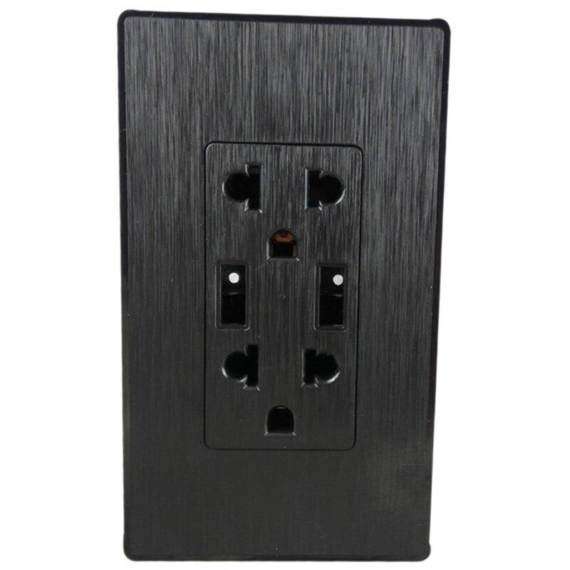 American Standard Usb Wall Socket,Double Usb Dual Three-Hole Us Plug Port Power Adapter Outlets,125 V,Pc Panel Black Us Plug