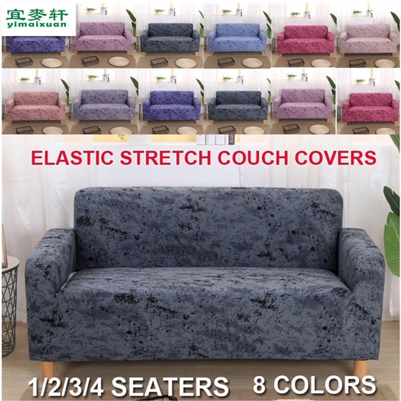 elastic slipcover 1/2/3/4 Seaters Spandex Stretch <font><b>Sofa</b></font> Covers Slip-resistent Couch Cover <font><b>Sofa</b></font> Protector Covers 8 styles image