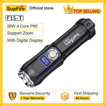 New SupFire F15-T 36W Powerful Flashlight With Display Zoom Tactical Light For Camping Lantern Self Defense Waterproof LED Torch