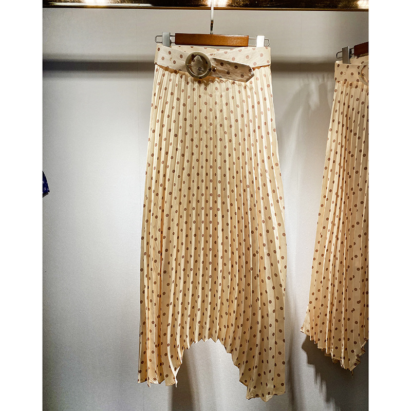 2020 Spring Summer Women Bright Dot Print Pleated A-Line Skirt