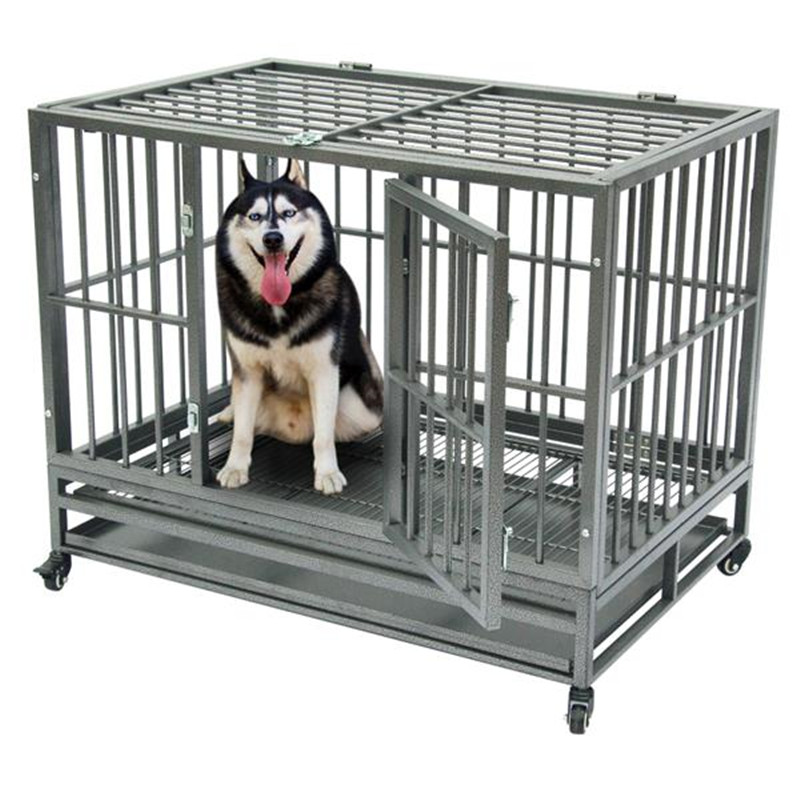 42 Heavy Duty Dog Cage Crate Kennel Metal Pet Playpen Portable with Tray Safety Mesh Separation Net