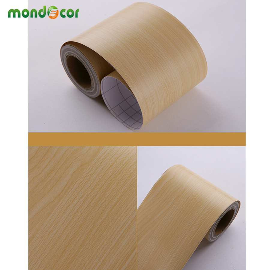 Self Adhesive Floor Window Decals Living Room Decorative Wall Border Skirting Stickers Waterproof Waist Line Wood Wallpaper Roll