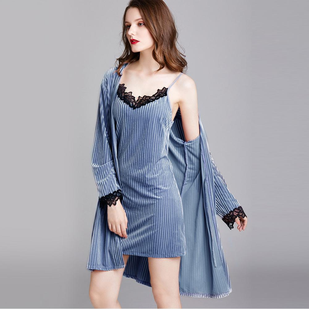 Lace Corduroy Nightgown+Camisole Nightdress for Women High Waist Lace Up Long Sleeve Sexy Nightgown Set #20