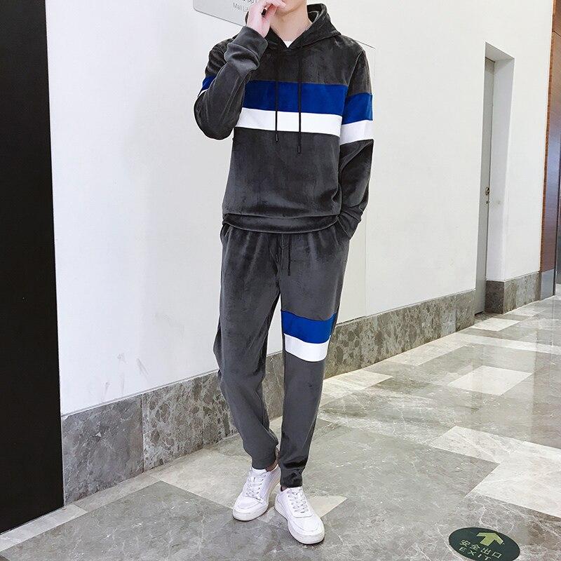 Tracksuit Men Velvet Sportswear Two Piece Set For Men Tracksuit Clothing Men Sport Suit Autumn Winter Hooded Sweatshirts+Pants