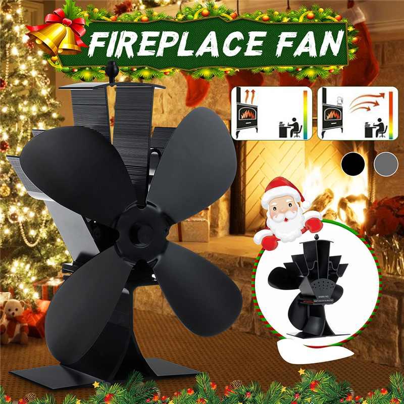 Black Stove Fan 4 Blade Fireplace Fan Heat Powered Aluminum Wood Burner Eco Fan Friendly Quiet Home Efficient Heat Distribution