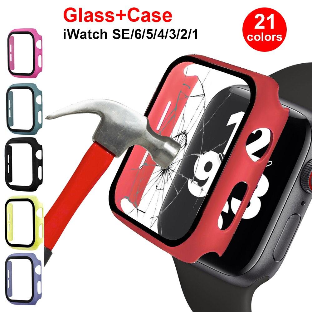 Vidro + caso para apple assistir série 6 se 5 4 44mm 40mm amortecedor protetor de tela capa para iwatch 3 2 1 38mm 42mm acessórios