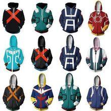 Anime My Hero Academia Full Print Mens Hoodies Cool Pullover Thin Coat Jacket Unisex Jumper Sweatshirt