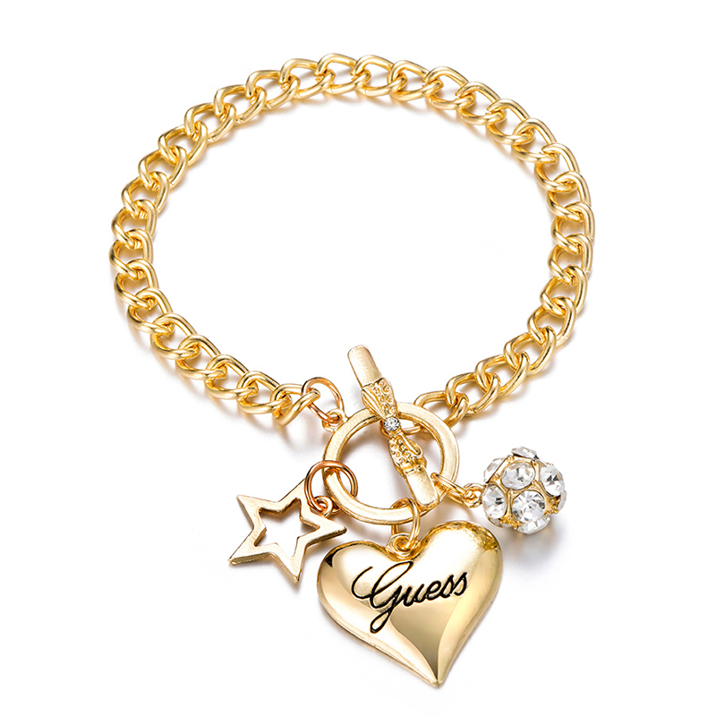 2020 Fashion Gold Heart Bow Cuff Crystal Rhinestone Bracelet Bangle For Women Lovers Party Jewelry Start Mujer Pulseras Gifts(China)
