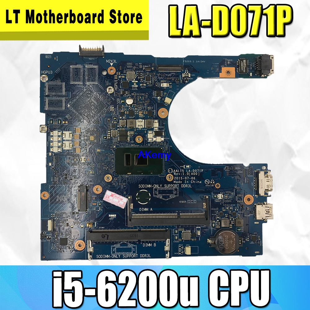 Original For DELL 15 5559 Laptop Motherboard 5559 I5-6200u AAL15 LA-D071P Tested Good Free Shipping