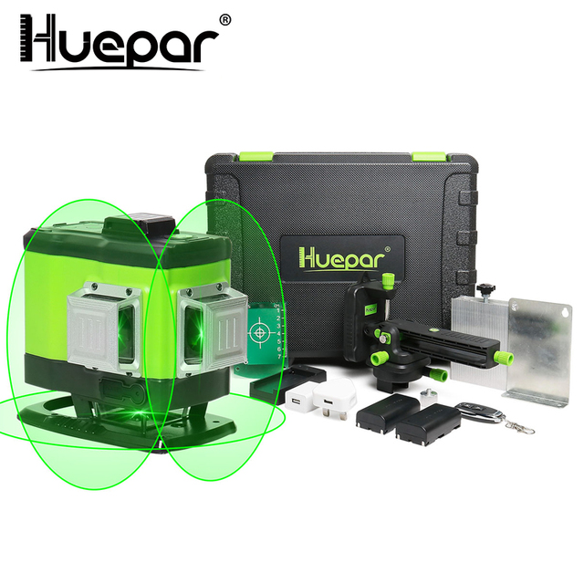 Huepar 3D Self leveling Laser Level 3x360 Green Beam Cross Line 360° Vertical Horizontal Line Remote Control & Hard Carry Case