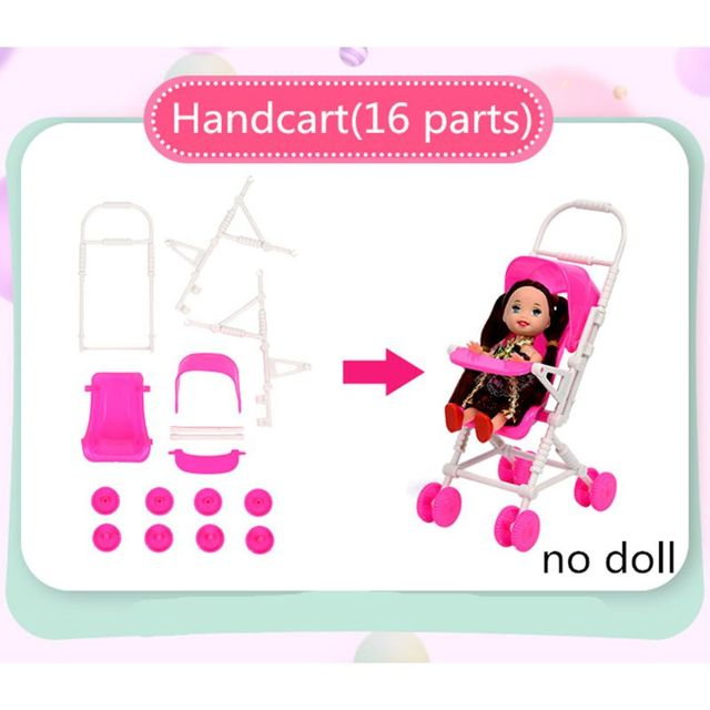 94pcs Doll Furniture Pretend Play Toy Sofa Shoes Jewelry For Doll Brabie Kelly Doll House Accessories Girl Present  Wholesale 1