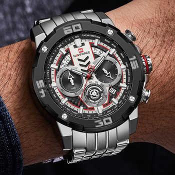 NAVIFORCE Montre-bracelet à Quartz grand cadran en acier inoxydable haut-marque Sport-horloge Relogio Masculino hommes affaires nouvelle Montre Montre Homme