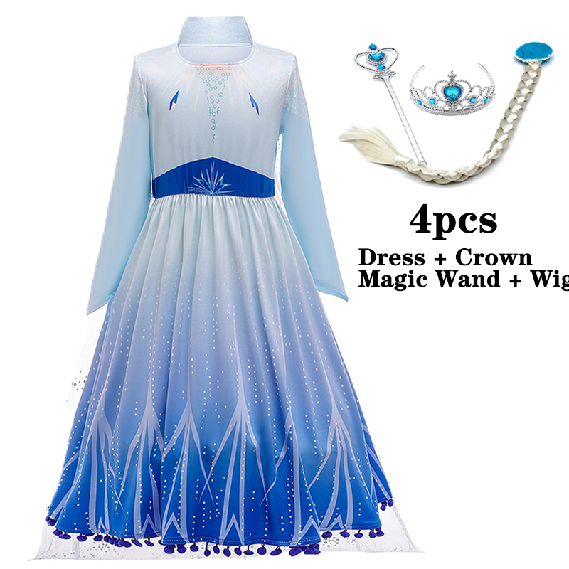 2 Anna Elsa Dress Girls Kids Dresses For Girls Costume Belle Princess Dress Easter Cosplay Carnival Party Children Clothing 2020