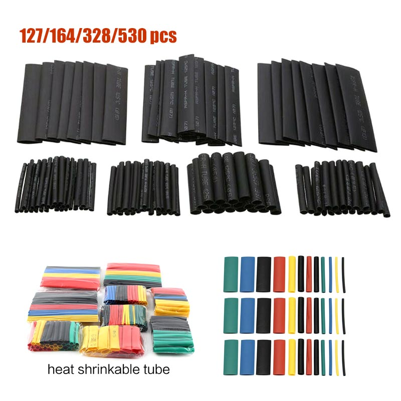 127/530 Pcs Black Heat Shrink Sleeving Tubing Tube connectors Assortment Kit Wrap Cable Electrical Connection Electrical Wire