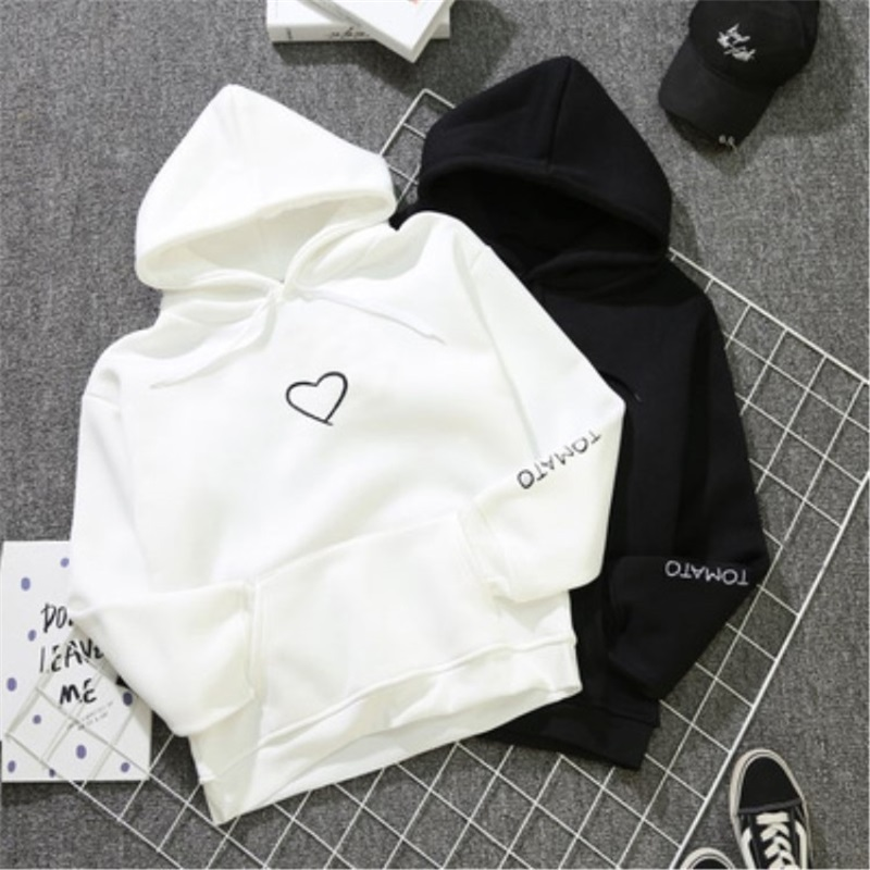 Fashion Love Heart Women's Casual Lover Couple's Cotton Blend Sweatshirts For Autumn Pullovers Streetwear Print Hoodies