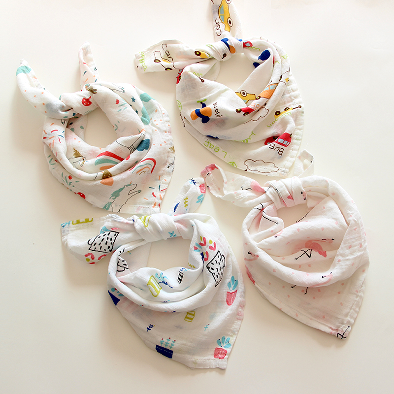 60*60 Muslin Cotton Baby Blanket Swaddle Soft Cartoon Wrap Swaddle Scarf Multifunction Bibs Wrap Burp Cloths Towel Accessories