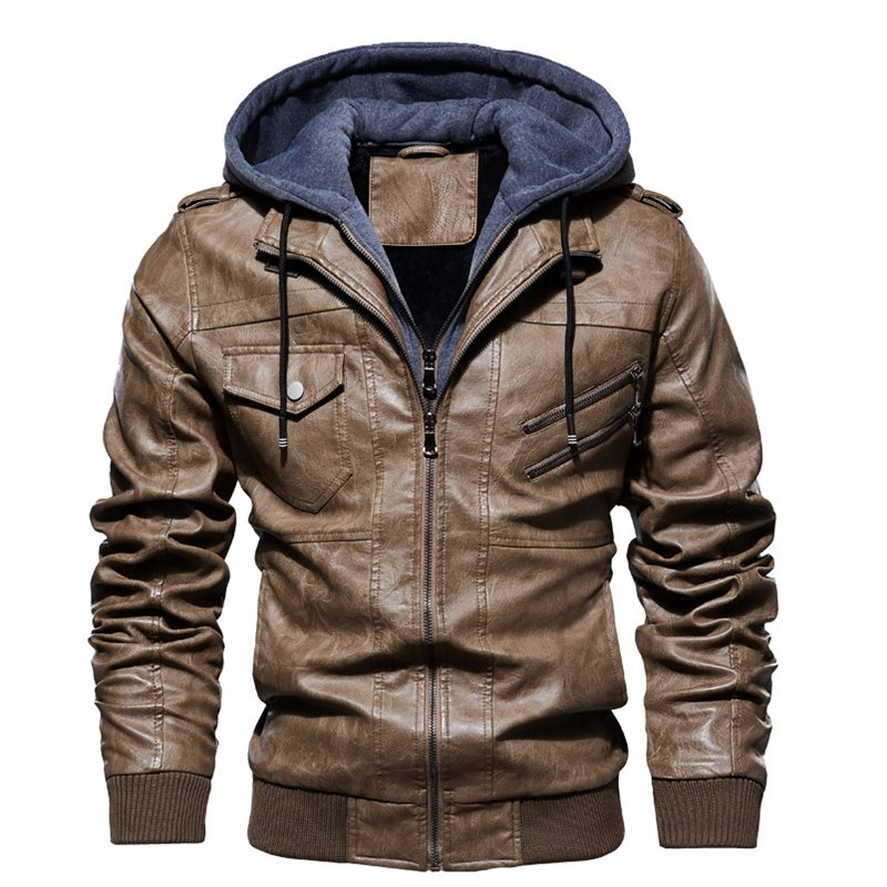 Men Leather Jacket Safari style Locomotive Casual Slim Fit Hooded Washed PU Faux Leather Coat Thick Plus Leather Clothes