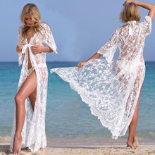 2019 Beach Cover Up Floral Embroidery Bikini Swimwear Women Robe De Plage Cardigan Bathing Suit Smock