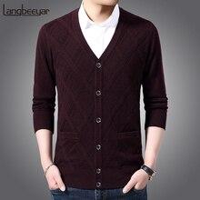 2020 nova marca de moda 6% lã camisola cardigan com decote em v fino ajuste jumpers malhas jacquard inverno casual roupas masculinas
