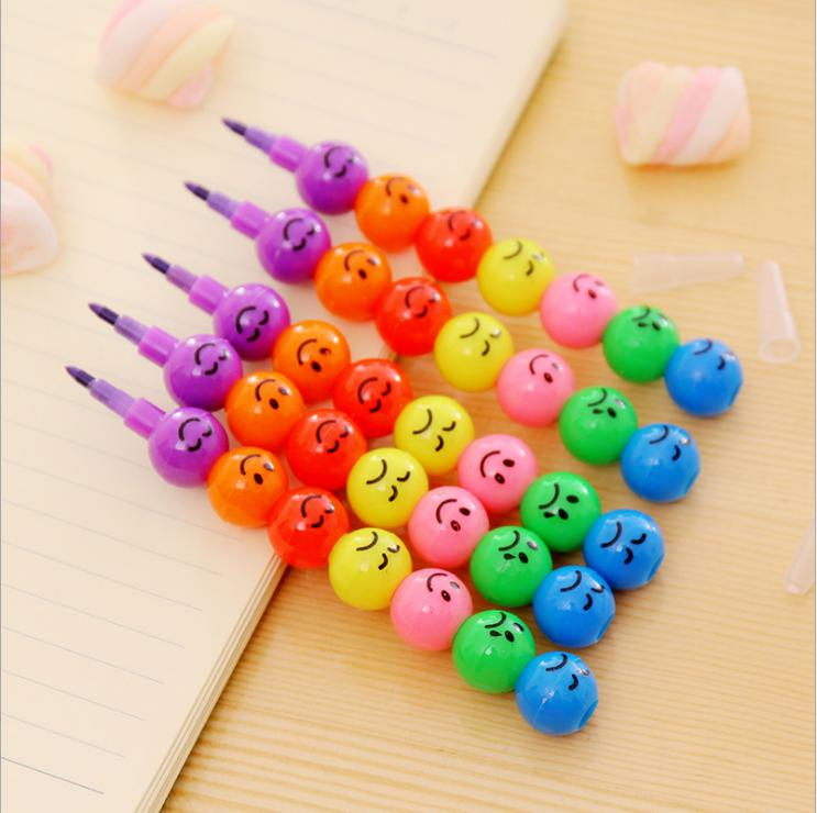 [4Y4A] 50pcs/Lot  7colors Smiley Crayons Candied Crayons Creative Gifts Children Art Student Safety And Environmental Stationery