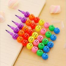[4Y4A] 50 Stks/partij 7 Kleuren Smiley Kleurpotloden Gekonfijte Kleurpotloden Creatieve Gaven Kinderen Art Student Veiligheid En Milieu Briefpapier