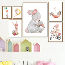 Posters Canvas Painting Baby Rabbit Animal Pink Balloon Flower Cartoon Bunny Nursery Wall Art Print Pictures Room