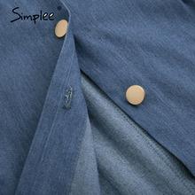 Simplee seksowna długa damska sukienka jeansowa z paskiem Vintage kobiece guziki sukienka jeansowa wiosna jesień szczupła damska sukienka biurowa 2020 tanie tanio COTTON Poliester spandex Płaszcza Osób w wieku 18-35 lat S20DR6511 Lato Bez rękawów Spaghetti pasek WOMEN Przycisk Na co dzień