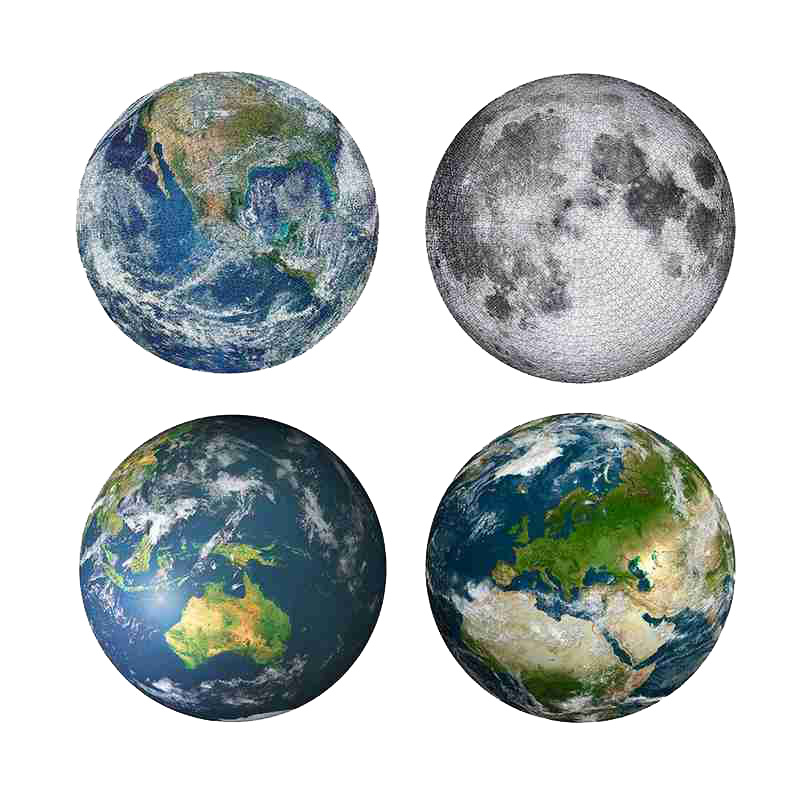 Puzzle 1000 Pieces Moon Earth Jigsaw Children Adults Portable Puzzle Fun Educational Toys Brain Teaser Assemble Toy Games Jigsaw
