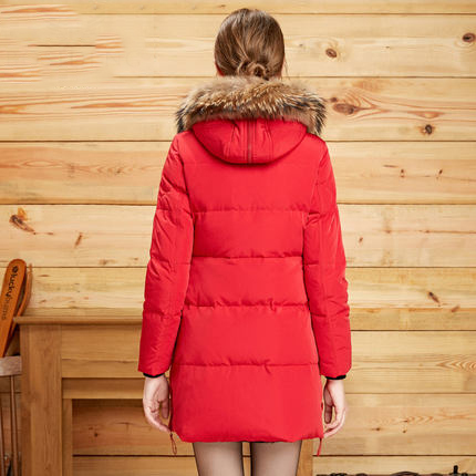 2020 Hot Sale Casual Coat Parkas For Women Winter Female Hooded Jacket Raccoon Fur Slim Duck Down Coat For Laides LX850